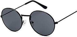 QWKLNRA - Gafas De Sol para Hombre Gafas De Sol Redondas Retro con Montura Negra, Lentes Negras, contra-UV, Portátiles, Retro, para Mujer, para Mujer/Hombre, Aleación, Espejo, Ciclismo, Viaje, PES