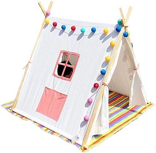 SSLW Kinder Zelt Indische Massivholz Stehzelt Indoor und Outdoor Schloss Spielzeug Spielhaus Geschenk (175 cm),Rosa
