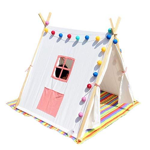 SSLW Kinder Zelt Indische Massivholz Stehzelt Indoor und Outdoor Schloss Spielzeug Spielhaus Geschenk (175 cm),Pink