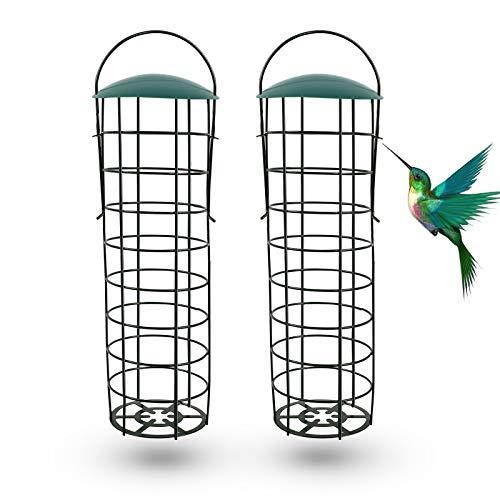 Ulikey Comedero para Pájaros Colgante, Comedero para Pájaros al Aire Libre, Comedero para Pájaros Pequeños, Comedero para Pájaros Exterior, Comedero para Pájaros para Balcón Jardín (2pcs)