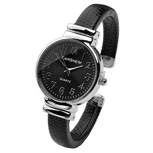 JSDDE Uhren,Damen Armbanduhr Chic Manschette Rund Damenuhr Spangenuhr Schlage Haut Band Armbanduhr Quarzuhr(Schwarz)