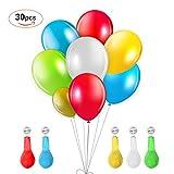 TURATA LED Luftballon 30 Stück leuchtende Ballons mit 5 Farbige Licht Bunt schöne Ballons für Weihnachten Party Geburtstag Fasching Valentinstag