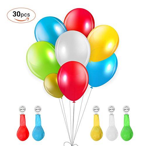 VSLLCAU Palloncini LED 30pcs 5 Colori per Natale Compleanni Anniversari Regalo ecc