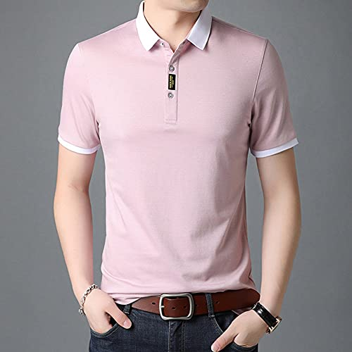 FDJIAJU Kurzarm Polo T Shirts Für Herren - Fashions Summer Mens Fit Lightweight Turn Down Collar Polo Shirt Short Sleeve Casual Quick Drying Breathable Tops Clothing,Red,4XL