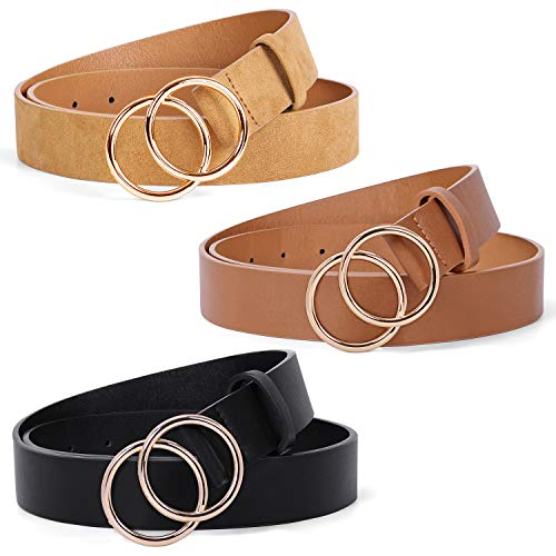 Mothers Day Gifts 3 Pack Double Ring Belt for Women, Faux Leather Jeans Belts with Golden Circle Buckle (Black+Brown+Khaki, Size XL)