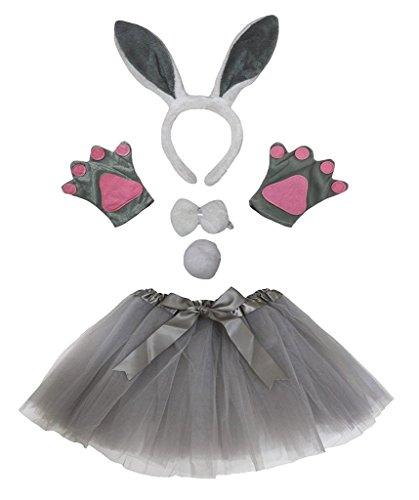 Petitebelle Diadema Bowtie Guantes de cola Tutu niña Disfraz de 5 piezas Un tamaño conejito gris