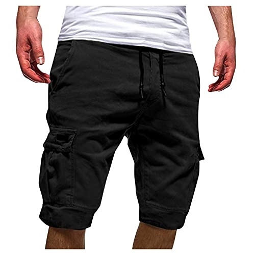 Toimothcn Men's Drawstring Elastic Waist Cargo Shorts with Pockets Plus Size Lightweight Sports Shorts(Black,3X)