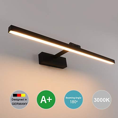 Klighten LED Spiegellampe, 180 Grad Drehung Innen wandleuchten, Hohe Helle 14W 61cm Spiegellampen für das Bad, 2700K-3000K,Schwarz