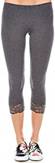 Bozzolo Womens Ladies Lace Cotton Leggings Casual Rb4002 (M, charcoal)