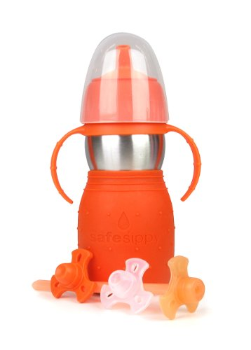 Kid Basix Safe Sippy 2 - Botella infantil con pajita, tapón y asas (330...