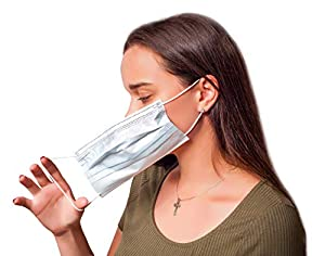 50 Pack Blue Dust Masks with Earloops. One size fits all. Disposable Face Masks. Pleated Facemasks. Ear Loop Procedure Masks. Germ Dust Protection. Non-woven Fabric masks. Lightweight, Breathable.