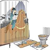 Juego de cortinas baño Accesorios baño alfombras chino Alfombrilla baño Alfombra contorno Cubierta del inodoro Extremo Oriente,historia,tema,general militar,líder en su antigüedad del ejército,paisaje