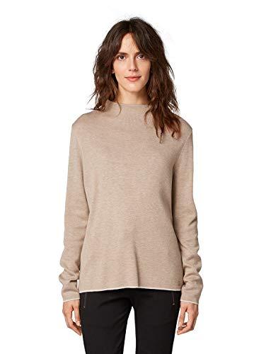 Tom Tailor - Jersey para mujer con cuello alto, color beige, talla S
