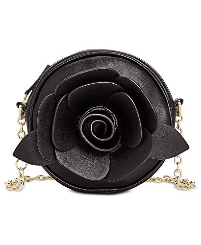 An over-sized floral applique and chain cross-body strap provide this Betsey Johnson® Glitter Rosette Crossbody with endless outfit pairings. Made of 100% PU. Zip closure. Interior zip pocket. Imported.  Measurements: Bottom Width: 6 1⁄2 in ...