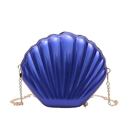 VJGOAL Damen Rucksack, Frauen Mädchen Mode Muscheltasche Volltonfarbe Kette Schulter Messenger Bag … (One size, Blau)