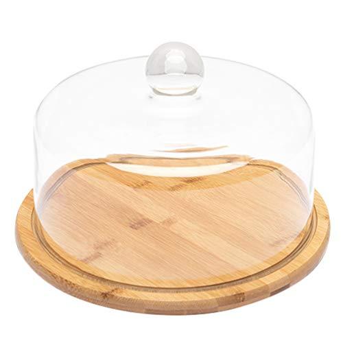 Cabilock 1 juego de soporte para tartas, campana de cristal, quesera con plato de bambú, plato de madera, tapa de cristal, tapa de alimentos, tapa para alimentos