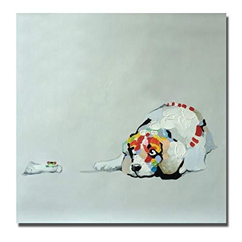 WunM Studio olieverfschilderij op canvas met de hand geschilderd, modern grappig dierschilderij, witte hond en boten, abstracte luxe grote wand kunst decoratie voor huis woonkamer slaapkamer kantoor hotel 60×60 cm