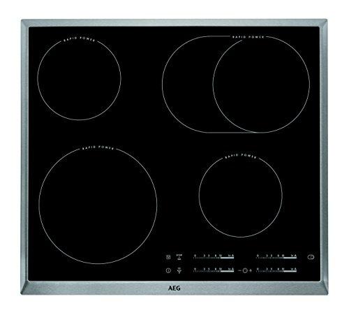 AEG hk654850 x B Plaque Électrique/Verre Céramique/57,6 cm/Rapid Power Zones de Cuisson/Acier inoxydable