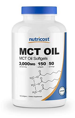 Nutricost MCTオイル 1000mg、150ソフトカプセル、(1食分あたり - 3000mg)、ケト、ケトーシス、非GMO、グルテンフリー