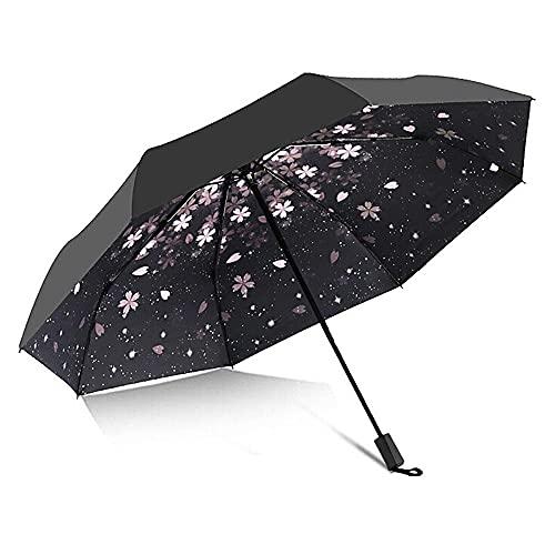 Ziayai Parasol automático lindo paraguas negro plegable vinilo soleado lluvia paraguas niña protección UV y plegable portátil capaz de pegamento negro anti UV capa paraguas (color: 3 descuento)