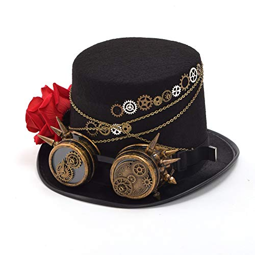 BLESSUME Steampunk Hut mit Schutzbrille Unisex Fancy Dress Zylinder (M, Farbe E)