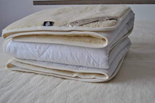 Merino Wool Bedding, natural bedding WOOLMARK wool mattress topper fleece sheet natural product,wool underblanket KING SIZE (150 x 200 cm)