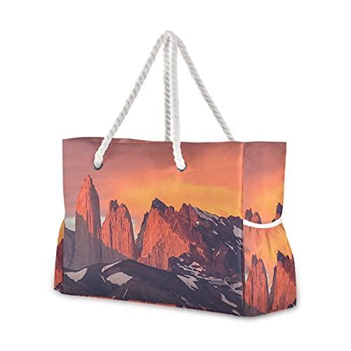 Strandtasche Sunrise Torres Del Paine Np Chile Pool Tote Tasche Schultertasche Seil Griffe Reißverschluss Große Kapazität Taschen für Reisen Strand Fitnessstudio