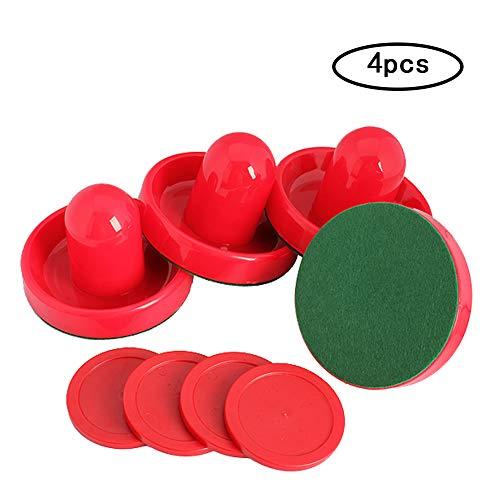 Prettygood7 Airhockey-Torwaren, 4 Stück, mit 4 Puck Filzschieber, Schlägel Griff, Rot