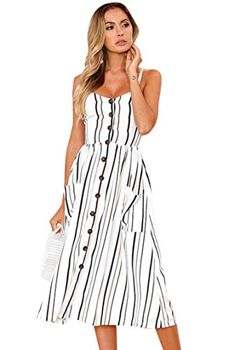 TYQQU Damen Swing Hem Summer Casual Ärmelloses Kleid Riemen Kleid Ärmelloses Midikleid mit V-Ausschnitt 0825 Weiß 2XL