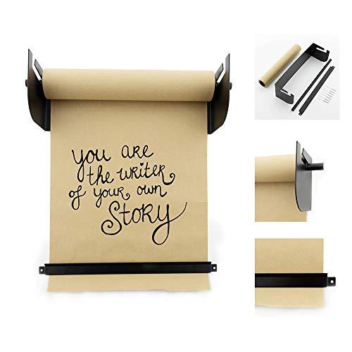 LEDR® Kraftpapier Roller 53 x 15 cm Schwarz Wanddekoration - Inklusive Montagematerial und Papier Rolle (20 m) - Rostfreier Stahl Wand Halter - Größe L - Papierrollenhalter - Kraftpapierrollenhalter