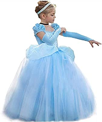 Cinderella Costume for Girls Cinderella Dress Princess Dresses for Girls Halloween Party Cosplay with Sleevelet 2-9T from