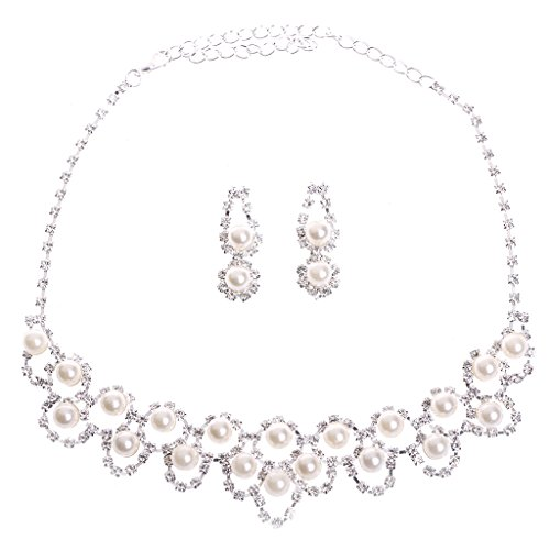 HeroNeo® Hot Prom Wedding Bridal Party Crystal Rhinestone Necklace Earring Jewelry Sets (23#)
