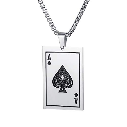 PAURO Collar Hombres Acero Inoxidable Frio As de Espadas Carta de Juego Póker Pulido 22 Pulgadas Cadena Plata