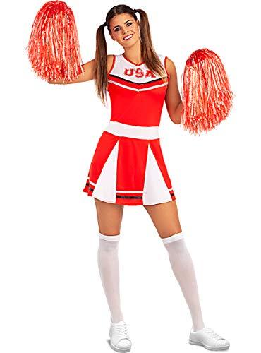 Funidelia | Disfraz de Animadora para Mujer Talla M ▶ Cheerleader, Fútbol Americano, Instituto, Profesiones - Color: Rojo - Divertidos Disfraces y complementos