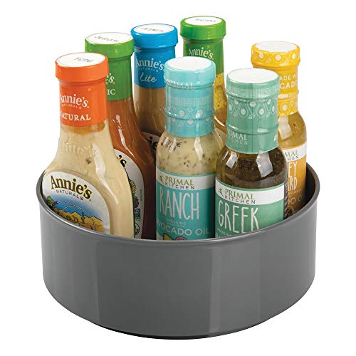 mDesign plateau tournant pour épices, condiments, etc. – carrousel cuisine en plastique – rangement de cuisine pour placard, réfrigérateur ou plan de travail – gris anthracite