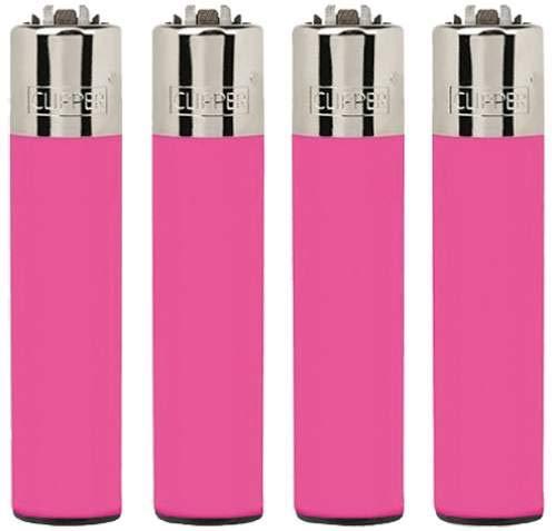 Clipper ® Feuerzeug Clipper Feuerzeuge Classic Rosa Flou Pink 4er Set + 1 x Dhobia Clipper