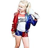 GGOODD Suicide Squad Harley Quinn Disfraz De Cosplay Niño Niña Top + Shorts + Camiseta + Guantes Conjunto De 4 Piezas,140