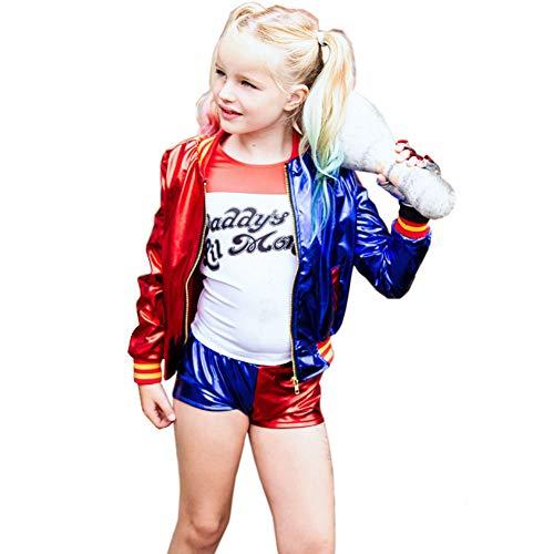 GGOODD Suicide Squad Harley Quinn Disfraz De Cosplay Niño Niña Top + Shorts + Camiseta + Guantes Conjunto De 4 Piezas,130