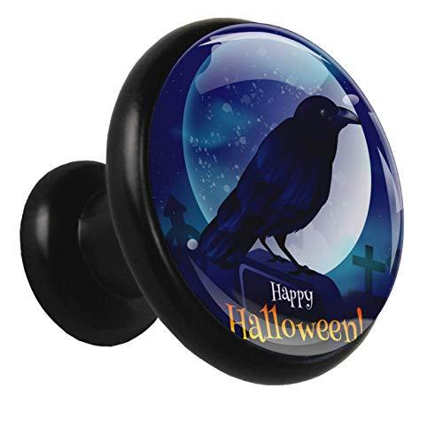 Perillas de mesitas de noche Cuervo de halloween Perillas de armario de metal con soporte para tocador de colores para guardería (4 piezas) 3.2x3x1.7cm