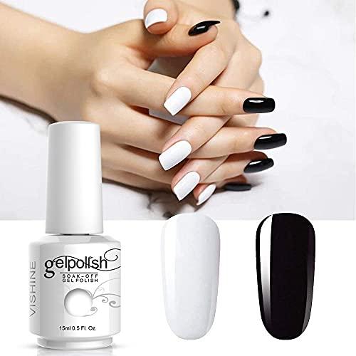 Vishine 2 Colors Nail Gel Polish Set Pure Black White Color Soak Off UV LED Varnish Collection Long Lasting Nail Art 2 Bottle 15ml