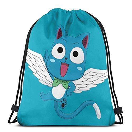 ANGSHI6 Bolsas de Cuerdas Bolsa con cordón Unisex Mochila Deportiva clásica Bolsa de Almacenamiento Bolsa de Viaje Happy PNG Fairy Tail