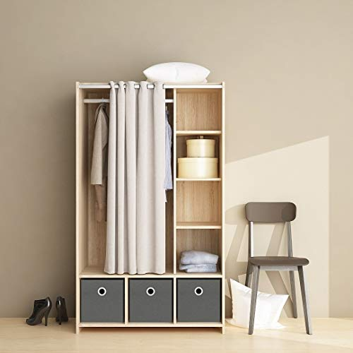 Best Price Oak Finish 3-bin Curtained Storage Center Beige Grey Modern Contemporary MDF Metal Adjust...