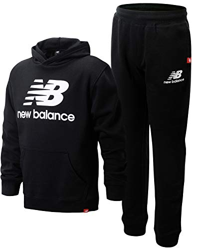 New Balance Boys' Jogger Set - 2 Piece Pullover Hoodie Sweatshirt and Sweatpants Activewear Set (Big Boy), Size 10/12, Black