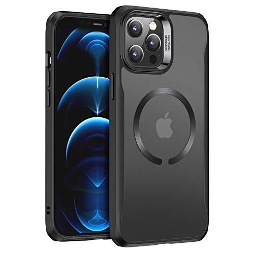 ESR Funda Compatible con iPhone 12/12 Pro (2020), Magnética Carcasa Compatible con MagSafe y Carga inalámbrica, Funda HD Claro Híbrido, Anti-arañazos, Antideslizante, Negro Esmerilado
