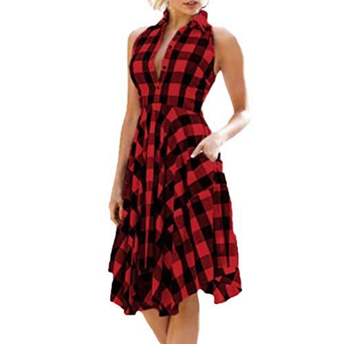 VJGOAL Solapa clásica de Las Mujeres de la Vendimia Bolsillo sin Mangas de la Tela Escocesa roja de la Vendimia con el Vestido de Fiesta de la Tarde del Dobladillo Irregular