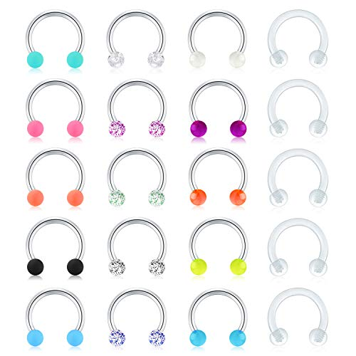 Mayhoop 16G Surgical Steel Horseshoe Nose Septum Rings Piercing Jewelry Cartilage Helix Tragus...