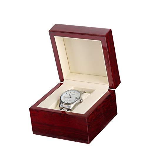 LIBILAA Houten Hoogglans Verf 1 Effen Hout Enkele Horloge Doos PU Lederen Horloge Opbergdoos Donker Rood