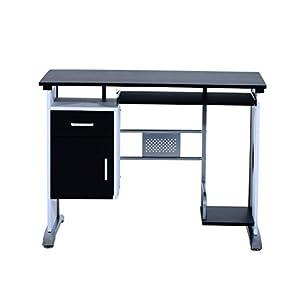 Mesa de Ordenador Escritorio de Oficina Mesa de PC Mesa con Armario para Hogar Escuela y Oficina Mobiliario 100x52x75cm Madera Negro y Plata