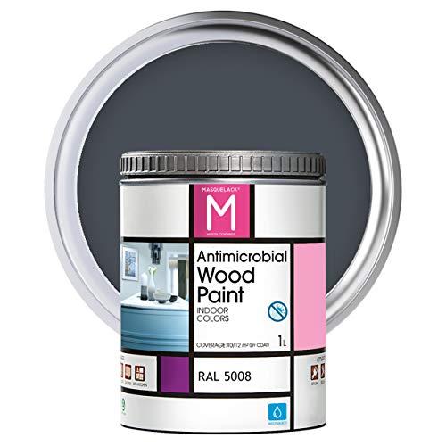 Pintura para muebles | Color Azul grisáceo | 1 L | Pintura Interior RAL 5008 | Laca para Madera Antimicrobios | Protege y Embellece la Madera de los Muebles | Aspecto Cálido y Satinado