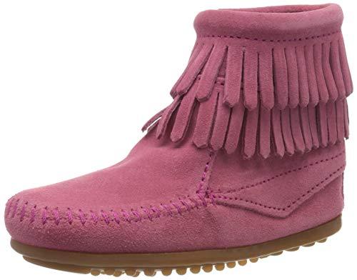 Minnetonka Minnetonka Double Fringe Side Zip Boot, Mädchen Kurzschaft Mokassin Boots, Pink (Hot Pink / PINK), 26 EU